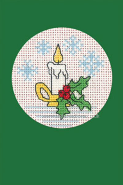 Candle Christmas Greetings Card  Green Cross Stitch Kit